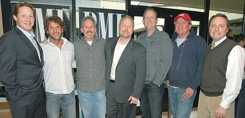 (L-R): BMI's Clay Bradley, Billy Currington, producer Carson Chamberlain, Sony ATV Music Publishing's Troy Tomlinson, co-writer Jim Beavers, Universal Music Group Nashville's Luke Lewis, BMI's Jody Williams. Photo: Kay Williams