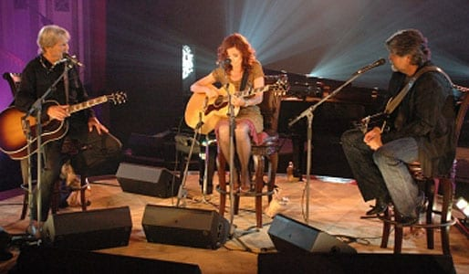 Kris Kristofferson, Patty Griffin, and Randy Owen performing on season one.