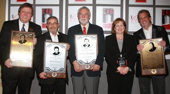 (L-R): Hall of Fame Inductees Chuck Collier (DJ), Bob McKay (Radio), Moon Mullins (Radio), Shelia Shipley Biddy (Presidents Award) and Gerry House (DJ). Photo: Bev Moser