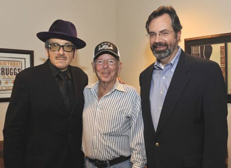 Pictured (L-R): Costello, Country Music Hall of Fame member Charlie Louvin, and Museum Vice President of Public Programs Jay Orr. Photo: Donn Jones