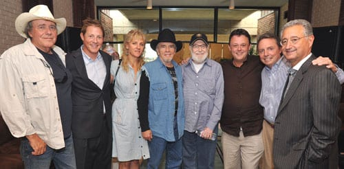 Pictured are (l-r): Bobby Bare; BMI Assistant Vice President Writer/Publisher Relations Clay Bradley; Theresa & Merle Haggard; Hank Cochran; songwriter Dale Dodson; BMI Vice President Writer/Publisher Relations Jody Williams and BMI President & CEO Del Bryant.  (Photo: Peyton Hoge)