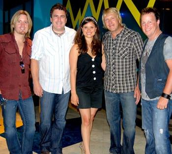(L-R): Lonestar's Cody Collins and Michael Britt, Diamond Music Group's Megan Munroe, and Lonestar's Keech Rainwater and Dean Sams. Photo: Martha Moore