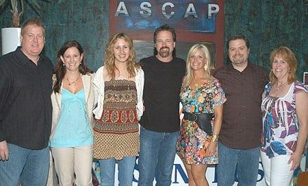 (L-R): ASCAP's Mike Sistad, SunTrust's Lori Stone, songwriters Jessi Alexander and Jon Randall, Jessica & Frank Rogers, and Debi Cali Photo: Alan Mayor