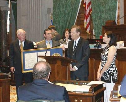 (L-R): Rep. Charles Sargent, Rep. Glen Casada, Steve Wariner, and Caryn Wariner