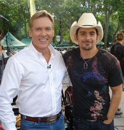 """rista Nashville superstar Brad Paisley is this week's champion on the sales chart with the #1 debut of his new album, American Saturday Night.  Here, Paisley is pictured with Good Morning America's Sam Champion when Brad was in New York on Friday to play GMA's Summer Concert Series.  Brad follows the three-week #1 success of American Saturday Night's first smash, """"Then,"""" with his new single, """"Welcome to the Future,"""" officially impacting radio on Monday."""