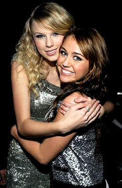 Taylor Swift and Miley Cyrus during the 2008 American Music Awards in November. Kevin Mazur/WireImage.com