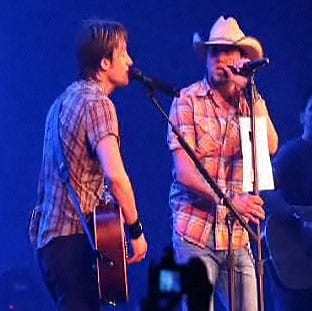"When country music superstar Keith Urban asked both Dierks Bentley and Jason Aldean to join him on stage for the 1975 Eagles hit ""Take It To The Limit"" at two separate tour dates in VA and KS, he wasn't prepared for his opening acts to have to think on their feet.  Each secretly devised last-minute ""cheat sheets"" to help them with the song that neither had previously performed live.  Bentley scribbled out the lyrics on his forearm with a Sharpie, and Aldean followed by taping the printed lyrics sheet to his mic stand with gaffe tape.   Once he realized what both acts were up to, Urban didn't let either get away without a little public humiliation in front of both sold out crowds.   Thankfully, the fans were more than happy to come to both Bentley and Aldean's rescue, creating an arena-wide sing-a-long.      For video clips of both, visit http://www.keithurban.net/?em5004=194014_-1__0_~0_-1_7_2009_0_0&content=from_the_road_blog"