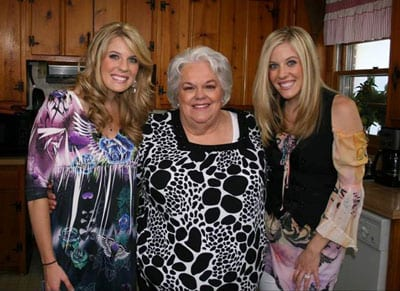 "Kate & Kacey stopped by Hazel Smith's kitchen last week to tape CMT's ""Southern Fried Flicks with Hazel Smith."""