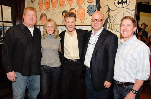 """ASCAP celebrated the success of Carrie's Underwood's 10th #1 single """"I Told You So""""  at The Palm on Tuesday, July 14th. The song, penned by 27 year ASCAP member Randy Travis, also won him a #1 on Billboard's Country Chart in 1988 as well as an ASCAP Country Award back in 1989.  Pictured L-R are:  ASCAP's Mike Sistad, Carrie Underwood, Randy Travis, producer Mark Bright and ASCAP's Earle Simmons."""
