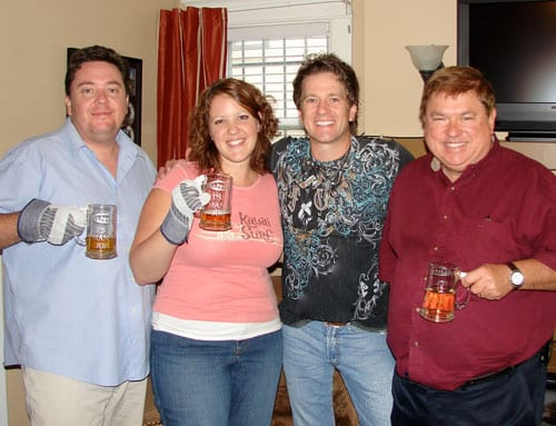 "here's a shot of Greg Hanna with me, and Bobbe Morhiser and Jeff Walker. He stopped by to bring us beers and Greg Hanna ""Mans Job"" beer mugs and work gloves! can you us this? r"