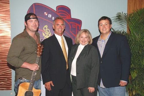 Pictured (L-R): Brice, WPDE/WWMB-TV & SCBA President Elect Billy Huggins, WCRE-AM & SCBA President Jane Pigg, BMI's Mason Hunter