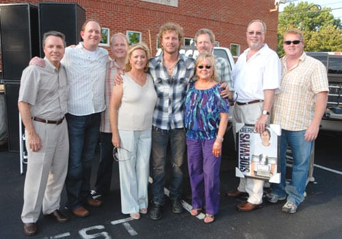 Pictured L--R:  BMI's Jody Williams, Jim Beavers, Sony ATV's Troy Tomlinson, ASCAP's Connie Bradley, Dierks Bentley, ASCAP's Pat Rolfe, producer Brett Beavers, Capitol Records Nashville's Mike Dungan, and ASCAP's Mike Sistad.