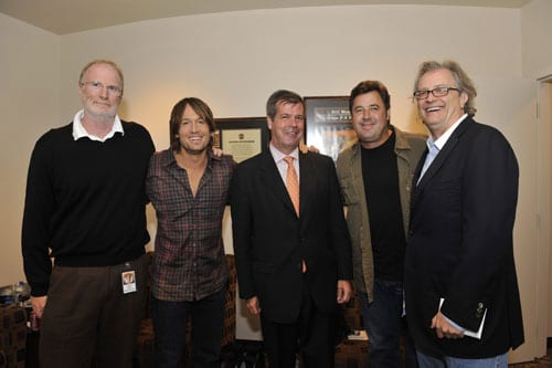 More details of the event were revealed this morning at a press conference at the Country Music Hall of Fame and Museum.       Museum Board President Vince Gill, who created and has led the institution's All for the Hall fundraising initiative since 2005, announced the details of We're All for the Hall, a special concert event to benefit the Country Music Hall of Fame and Museum.     John Grady, Keith Urban, Mayor Karl Dean, Vince Gill and Kyle Young - photo by Donn Jones