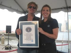 Jack Ingram is a awarded a Guiness World Record by Adjudicator Laura Plunkett.