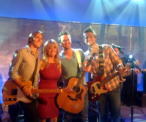 """Love And Theft's Brian Bandas, Stephen Barker Liles and Eric Gunderson played their hit single """"Runaway"""" on NBC's top-rated morning program the TODAY SHOW and were excited to meet host Kathie Lee Gifford. Love And Theft's debut album, World Wide Open, will be in stores Tuesday."""