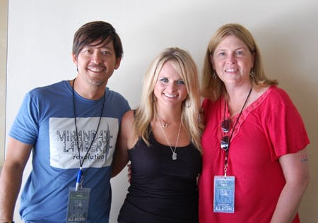 Taryn.Pray@sonymusic.com   	 show details 2:35 PM (5 minutes ago) 	 	 Reply 	 	Follow up message  Miranda Lambert takes a break backstage at Kenny Chesney's Qwest Field stadium show in Seattle to hang with KMPS PD Becky Brenner.  Lambert's highly anticipated third album, Revolution, is set to release September 29.  Revolution, the follow up to the 2008 ACM Album of the Year, Crazy Ex-Girlfriend, features 12 tracks written or co-written by Lambert.      Pictured L-R: Columbia Nashville's Larry Santiago, Lambert, KMPS PD Becky Brenner