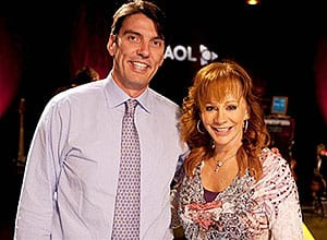 This week Reba taped her first-ever appearance on AOL Sessions in New York City. Reba is pictured above with AOL Chairman/CEO Tim Armstrong (himself a big country music fan) prior to the taping. Reba's appearance on AOL Sessions is set to premiere September 4th.