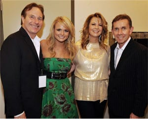 Sony Executive VP Butch Waugh; Columbia artist Miranda Lambert; Patty Loveless; and Sony Nashville Chairman Joe Galante. Photo: Rick Diamond