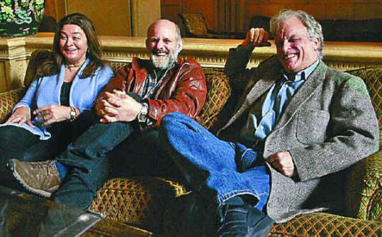 Photo of Rounder Records founders, from left, Marion Leighton-Levy, Ken Irwin, and Bill Nowlin after their label won the 2009 Grammys for album and record of the year. (Jonathan Alcorn, The Boston Globe)