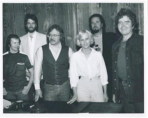 Dennis Knutson, Byron Hill, Eddie Burton, Micki Furhman, Rick Shulman, and Jim Rushing, at the ATV Music Nashville office, circa 1982. Photo: www.byronhillmusic.com