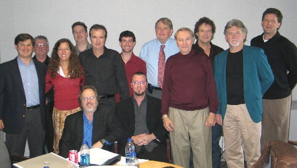 (l-r): Chris Trotter, Genspring/Suntrust Bank; Robert Williams, Outback Promotions; Kissy Black, Lotos Nile Media; Tony Rodono, Aleven Creatives; Clif Doyal, Corporate Publicist, AirPlay Direct; Scott  Welch, EVP AirPlay Direct; Mike Hagler, Jr., Director of New Media for Dolly Parton; Robert Weingartz, CEO, AirPlay Direct (seated); James Dorsey, Board Member, AirPlay Direct; John Gillin, Board Member, AirPlay Direct; Clay DuBose, Advisor, AirPlay Direct; Raleigh Squires, Operations Manager, AirPlay Direct; Steve Ivey, IMI Music. Photo credit: Courtney Skiver
