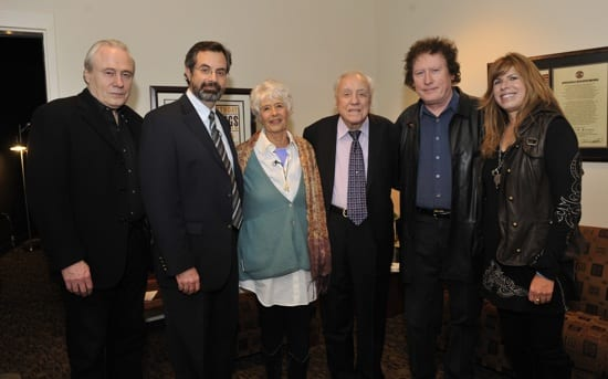Pictured (L-R): Gary Scruggs, VP of Museum Programs Jay Orr, Martin, Earl Scruggs, Randy Scruggs and Gibson Foundation Executive Director Nina Miller. Photo:Donn Jones