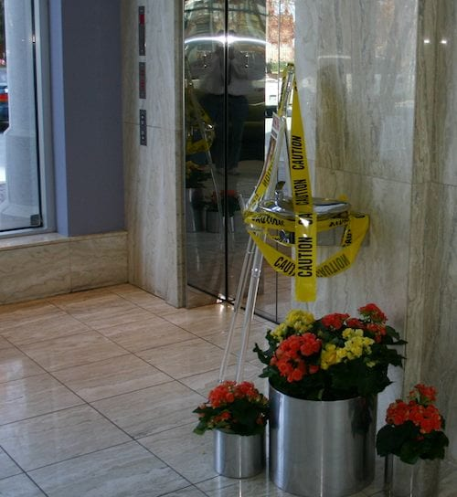 ASCAP Lobby with crime scene tape showing where Miss Doris was abducted.
