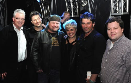 Pictured are (l-r): BMI's Perry Howard, Pahanish's guitarist Tom Bukovac, Wright of Center Music's Cole Wright, band member Kristin Lee, Dave Pahanish, and BMI's Bradley Collins.