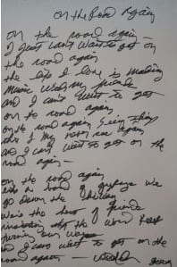 "Nelson's lyrics to ""On The Road Again"""