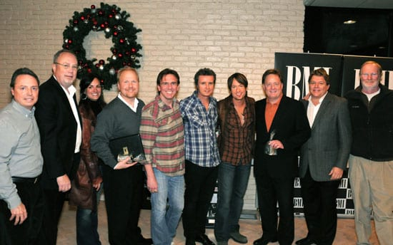 Pictured are (l-r): BMI's Jody Williams, Capitol Nashville's Mike Dungan, 19 Entertainment's LeAnn Phelan, Sony ATV Music Publishing's Troy Tomlinson, producer Dann Huff, co-writer Steve McEwan, Keith Urban, EMI Music Publishing's Gary Overton, BMI's David Preston, and Borman Entertainment's John Grady. Photo by Drew Maynard