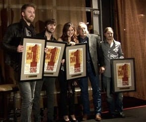 "Lady A celebrated the success of their 5 week No. 1 single ""Need You Now"", in Nashville.  Pictured L-R: Charles Kelley, Dave Haywood, Hillary Scott, Steve Moore, Josh Kear."
