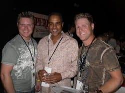 Pictured l-r: Dustin Finch, BBBSMT CEO Lowell Perry Jr, Brandon Finch