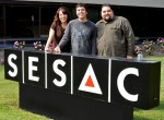 Pictured (from l-r): SESAC's Amy Beth Hale, Rickman and SESAC's Tim Fink. Photo: Peyton Hoge