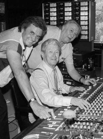(L-R): Johnny Cash, Roy Acuff, and Clement in 1988. Photo: Alan Mayor
