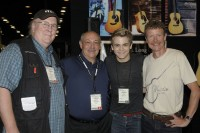 Pictured (L-R): Bill VornDick, Larry Fishman, Hunter Hayes holding one of the new Retro models and Chris Martin