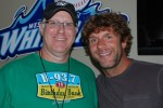 WBCT PD Dave Taft (L) visits with Billy Currington before a show in Grand Rapids last week.