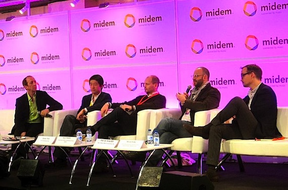 Pictured (L-R): moderator Tom Silverman, CEO of Tommy Boy and executive director of the New Music Seminar; Daren Tsui, CEO of Mspot, Samsung's music hub; Ken Parks, chief content officer and managing director of Spotify; Patrick Walker, YouTube's senior director of music content partnerships for Europe Middle East & Africa; and Mark Piibe, Sony Music's exec VP of global business development and digital strategy.