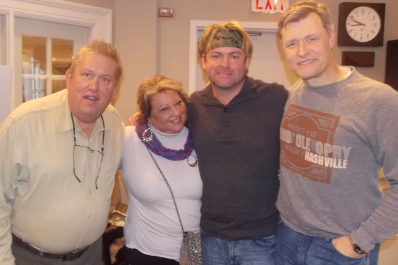 """Andy Griggs recently visited with WSM and Bill Cody about his new song, """"Twenty Little Angels,"""" written for, and benefiting those involved in the Newtown tragedy. The track takes our highest debut this week at No. 62. Pictured (L-R): Al Brock (Spin Doctors Music Group President), Cathy Nakos (Andy's manager), Andy Griggs, and Bill Cody (WSM)"""