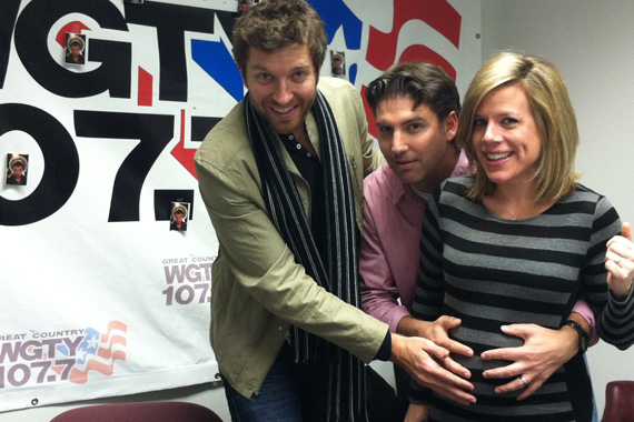 """Brett Eldredge Visited with WGTY staff to promote his latest single, """"Don't Ya."""" A music video for the song was recently shot in Nashville. Pictured (L-R): Katie Bright, Scott Donato (WGTY/York) and Brett Eldredge"""
