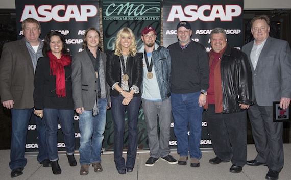 Pictured (L-R): ASCAP's Mike Sistad, Big Yellow Dog's Carla Wallace, co-writer Josh Kear, Carrie Underwood, co-writer Chris Tompkins, producer Mark Bright, Big Loud Shirt's Craig Wiseman and Sony Music Nashville's Gary Overton