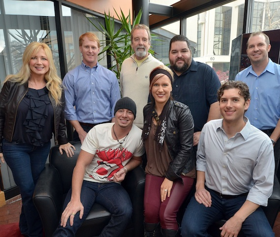 Pictured (L-R), back row:  Curb's Kelly Lynn, John Ozier, Dennis Hannon, SESAC's Tim Fink and Todd Thomas. Front row:  Jon Stone, Kristy O and Curb's Taylor Childress.Photo: Peyton Hoge