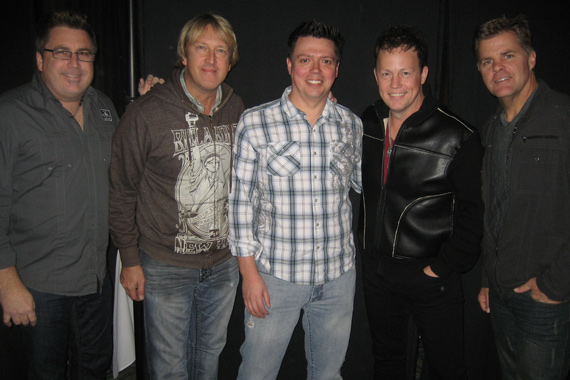 """Lonestar met up with KSON/San Diego PD Kevin Callahan at show to benefit St. Jude, recently. A 2013 album release is expected following the reunited band's current single, """"Maybe Someday,"""" which lands On Deck this week. Pictured (L-R): Chris DeCarlo (Bigger Picture Group), Dave Taft (WBCT PD), Chris Janson, Doug Montgomery (WBCT OM), Michael Powers (Bigger Picture Group)"""