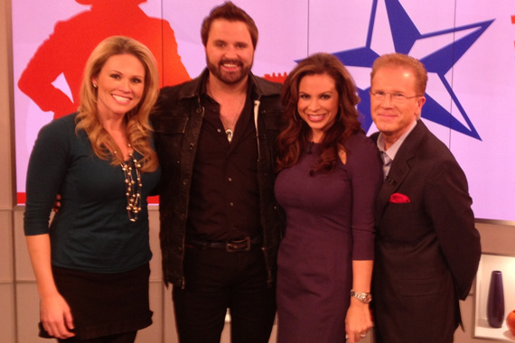 Randy Houser has been making the media rounds this week for Jan. 22 debut release from Stoney Creek, titled How Country Feels.  Pictured here in New York City with CBS' Live From The Couch, Houser was the first artist played on NYC's new Nash FM 94.7. Pictured (L-R): Lisa Kerney, Randy Houser, Carolina Bermudez and John Elliot.