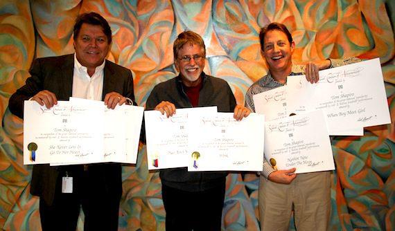 Pictured are (l-r): BMI's David Preston, Tom Shapiro, and BMI's Clay Bradley. Photo by Drew Maynard
