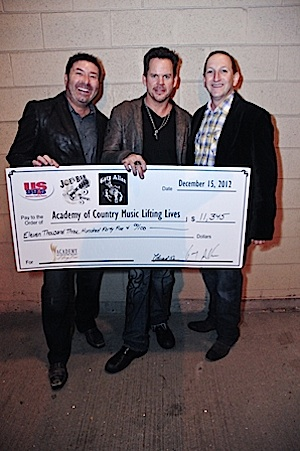 Photo (L-R): Tommy Disanto, Joe's Bar Co-Owner; Gary Allan; Ed Warm, Joe's Bar Co-Owner and ACM Lifting Lives and ACM Board Member).