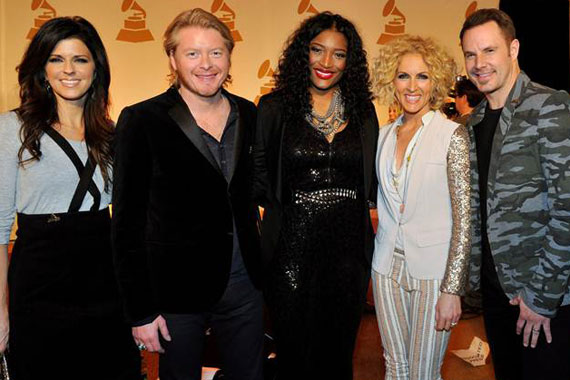 """Pictured (L-R): Karen Fairchild, Philip Sweet, Little Big Town; Tamara """"Taj"""" George (SWV), Kimberly Schlapman and Jimi Westbrook of Little Big Town. Photo: The Recording Academy/Frederick Breedon/WireImage"""