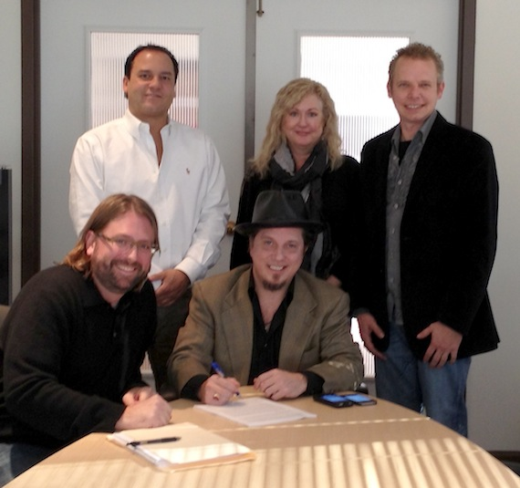 Pictured, Standing (L-R): Jason Morris, Jewel Coburn, and Lucky Diamond Music writer/manager Cory Gierman. Seated: attorney Chip Petree and Lawson.