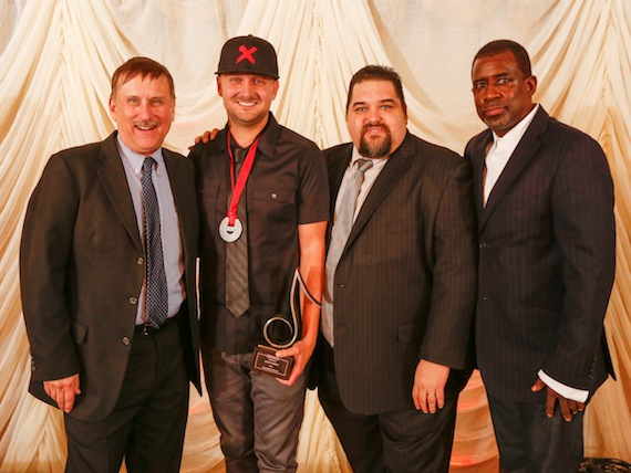 Pictured (left to right): SESAC's Senior Director, Writer/Publisher Relations John Mullins, Jason Ingram, SESAC's Vice President, Writer/Publisher Relations Tim Fink and SESAC's Senior Vice President, Writer/Publisher relations Trevor Gale. Photo: Ed Rode