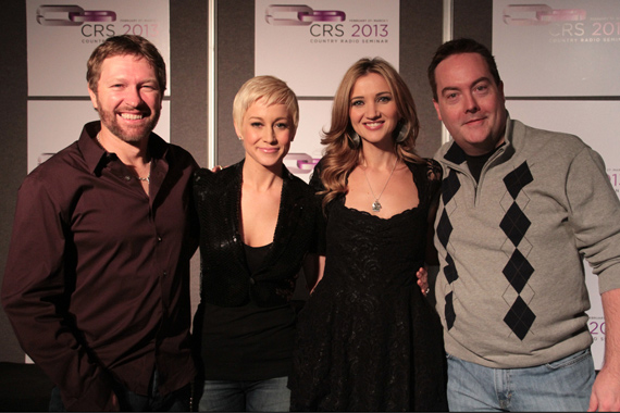 "Black River artists Craig Morgan, Kellie Pickler, and Sarah Darling took time to visit with WQDR's Cody Clark during the label's CRS luncheon last week. Morgan takes our No. 15 spot this week with ""More Trucks Than Cars,"" and Darling is at No. 29 with ""Home To Me."" Pickler was recently announced as a contestant on ABC's Dancing With The Stars. Pictured (L-R):  Morgan, Pickler, Darling and Cody Clark (WQDR-Raleigh MD). Photo: Bev Moser"