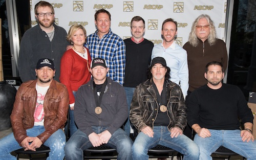 Pictured (L-R), front row: Jason Aldean, Ben Hayslip, David Lee Murphy and Michael Knox. Back row (l-r): Warner Chappell's B.J. Hill, This Music's Connie Harrington and Tim Nichols, Warner Chappell's Ben Vaughn, This Music's Rusty Gaston and N2D Publishing's Douglas Casmus. Photo: Ed Rode.